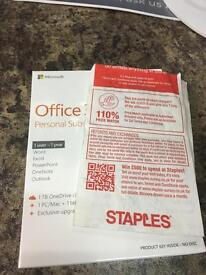 New Microsoft office with receipt from staples