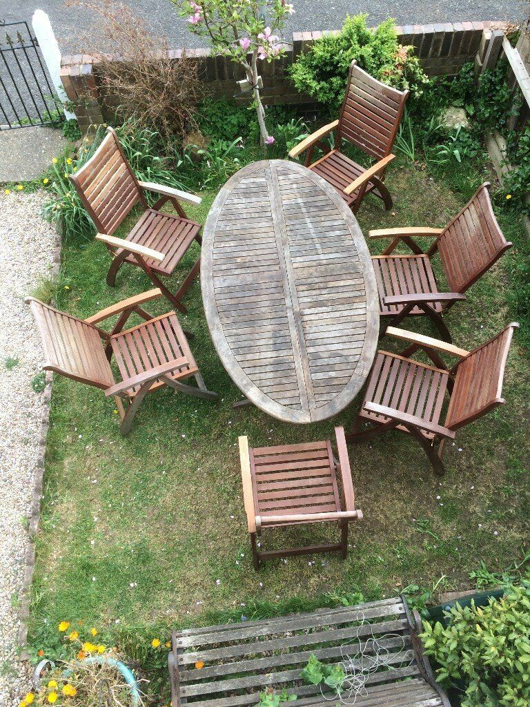Wondrous Large Teak Wood Land Of Leather Garden Patio Set In Glenfield Leicestershire Gumtree Dailytribune Chair Design For Home Dailytribuneorg