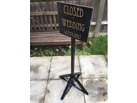 3 Wedding free standing signs - art deco inspired - black and gold