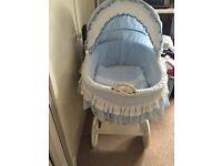 Large baby blue Moses basket
