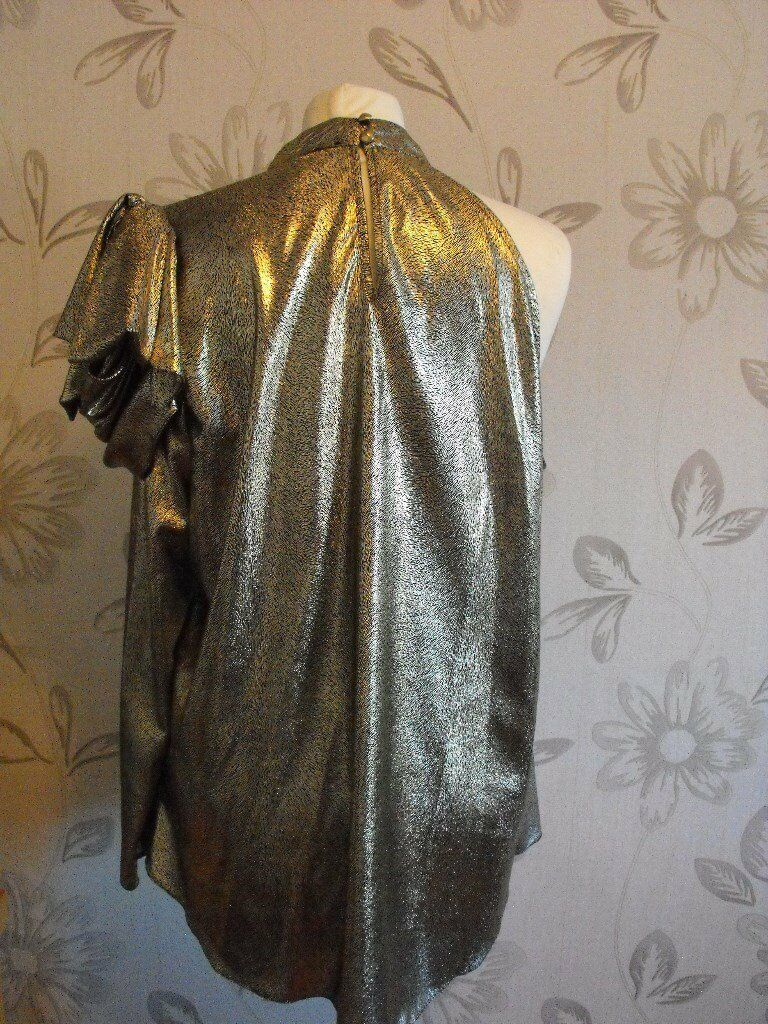 f21a67e131 RIVER ISLAND GOLD ONE SLEEVE BLOUSE   TOP SIZE 16