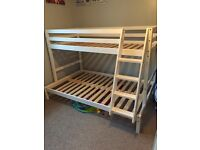 Triple white wooden bunk beds