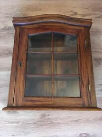 Antique wall hanging curio cabinet