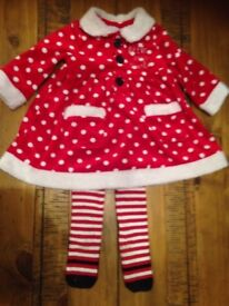 Red/white polka for Christmas dress age 3-6 months