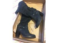Bertie Black Leather Boots - Size 4