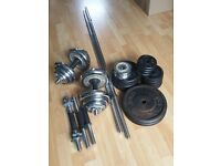 York Fitness York Black and Chrome Cast Iron Barbell and Dumbbell -- £65
