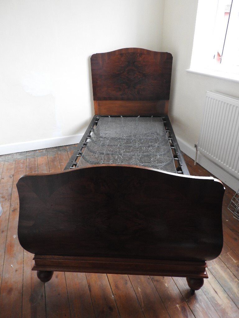 ANTIQUE ART DECO NUARIS OAK & WALNUT VENEER SINGLE BED WITH METAL ...