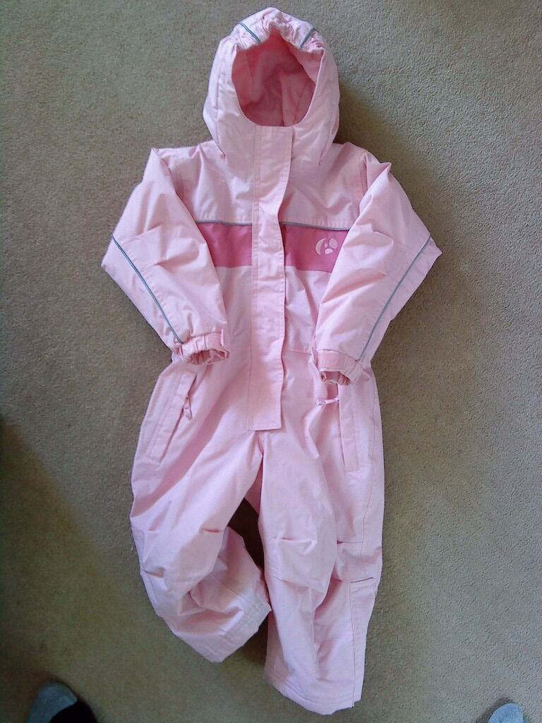 Girls pink snowsuit / puddle suit, 1-2 years