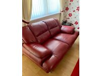 3 and 2 seat red leather suite