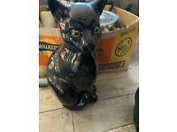 Large ceramic cat ornament