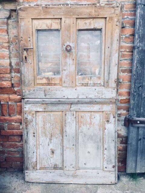 Antique Dutch Farmhouse Split Doors Decorative Solid Wooden Vintage Large Prop