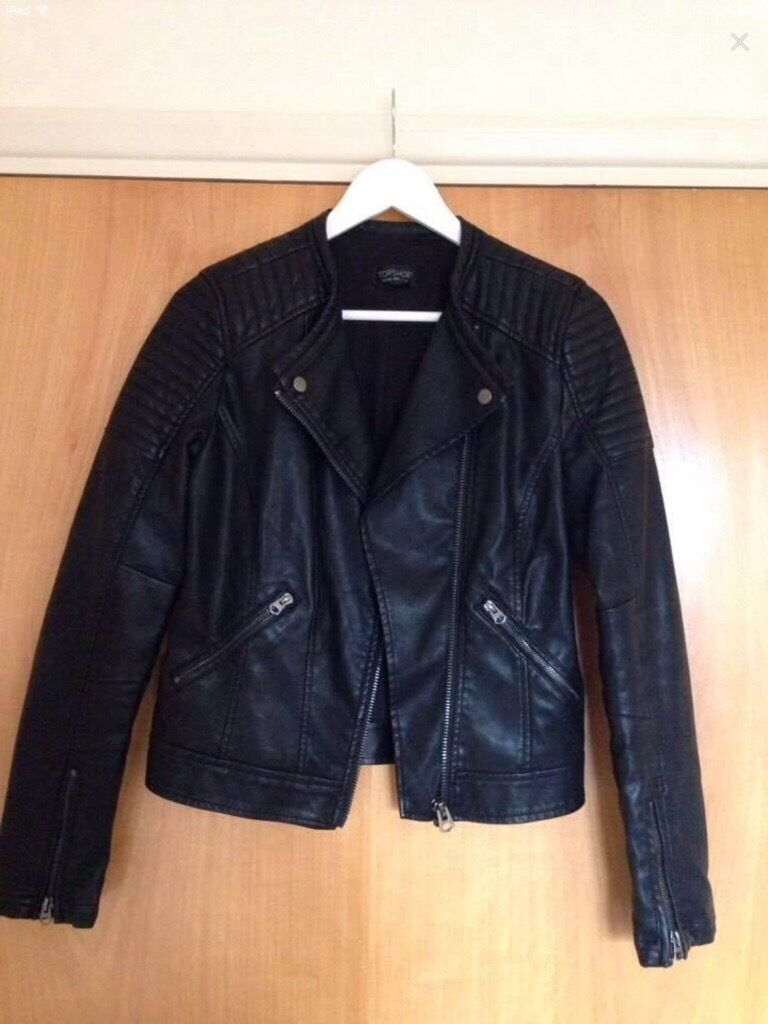 Topshop leather jacket, size 8, black
