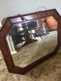 Antique wooden frame mirror