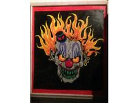 Large Modern Style, Hand painted Clown Face Picture.