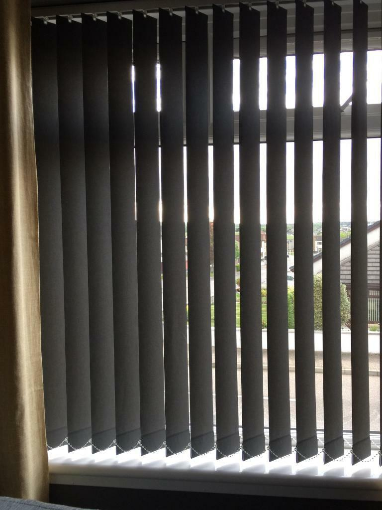 Charcoal Vertical Blinds To Fit Window 174cm Wide X 140cm