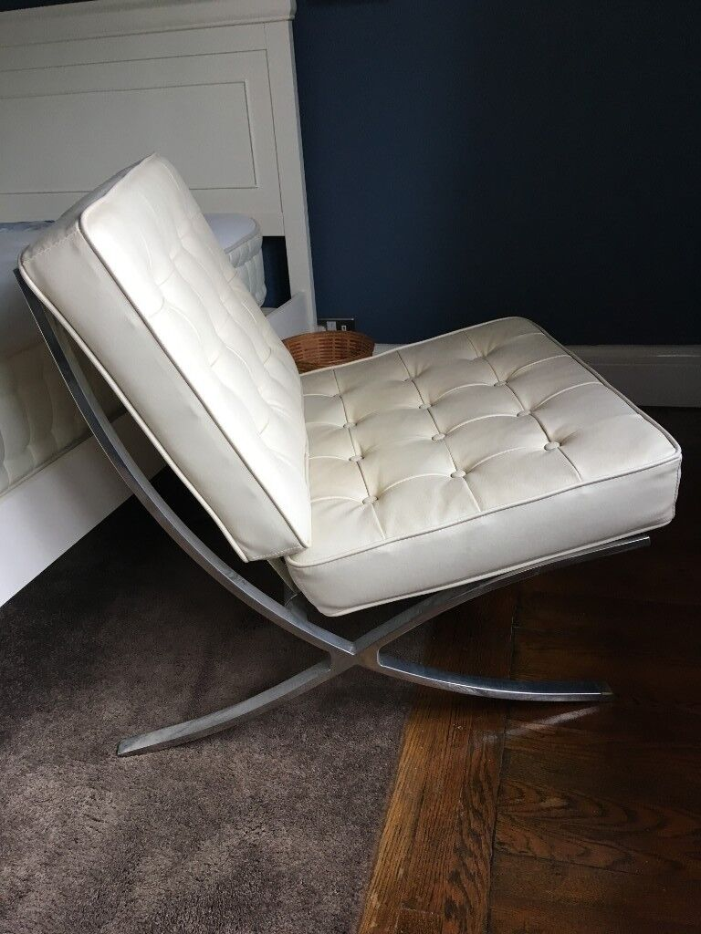 Cream Barcelona Chair Faux Leather Quilted