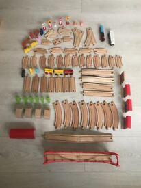 Wooden trains and trucks