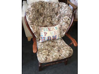 Very Nice Vintage Ercol Style Armchair with Floral Fabric Cushions Solid Elm Wood