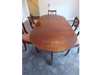 1970's Waring and Gillow Mahogany Dining Table and Chairs