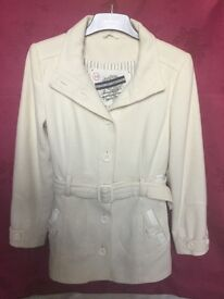River island cream coat size 10