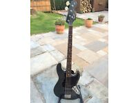 FENDER JAPAN AERODYNE JAZZ BASS MEDIUM SCALE PJ IN GUN METAL BLUE