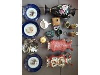 ANTIQUE VICTORIAN CONTINENTAL VASES, STAFFORDSHIRE PLATES, COBALT PLATES AND OTHER CHINA ITEMS