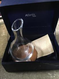 Atlantis crystal glass decanter with wooden stand