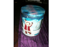 Marks & Spencer musical biscuit tin / barrel & Mucha Art Nouveau style tea caddy