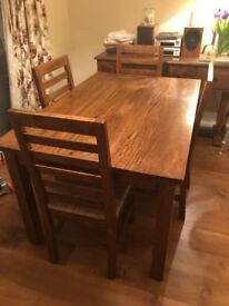 4 - 6 seater Table and 4 Chairs - Mango Wood 4 foot 7 inch
