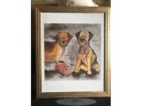 "Framed Alex Clark ""Boot Camp"" Border Terrier Print"