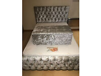 *****ANY COLOR*****MONACO CRUSHED VELVET BED***** WITH FREE **OTTOMAN BOX MATCHING** ANY COLOR