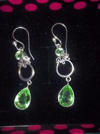 Pair of Drop Peridot gemstone Green Earrings - Silver