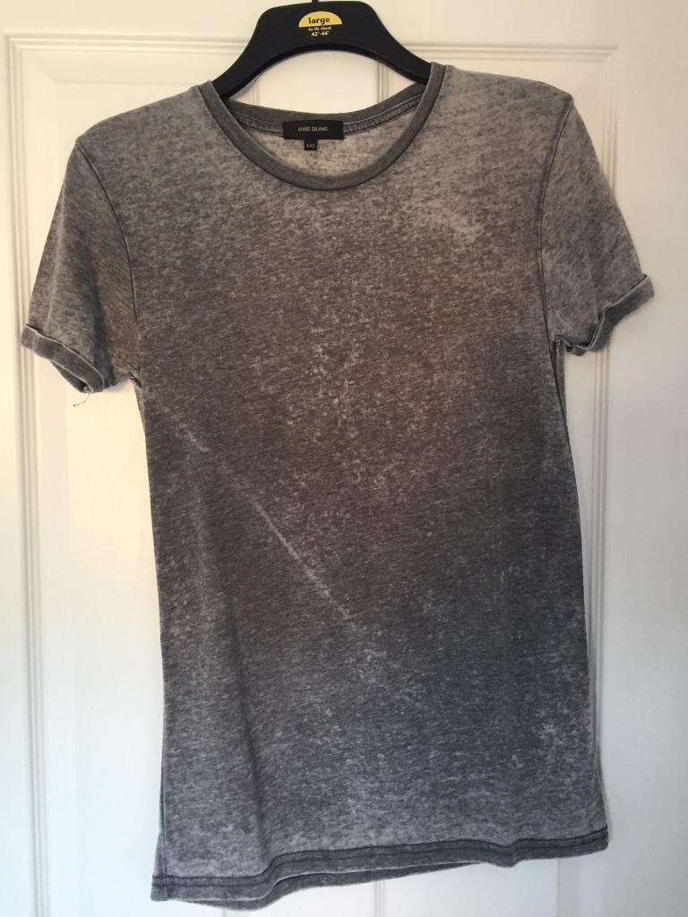 River island grey tshirt mens size xxs