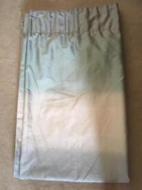 Duck egg blue/ cream / silver striped curtains