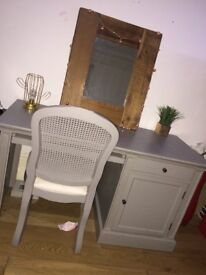 Desk/dressing table with chair. Solid wood painted In Dove