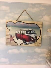 VW camper van wooden wall hanging