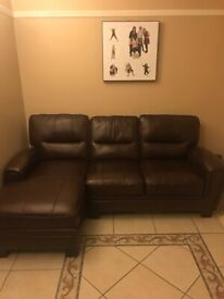 Leather corner sofa unused (brown)