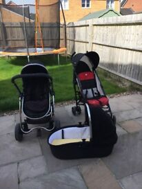 I Candy Strawberry Black both buggy and carrycot attachment & Joie black & red buggy