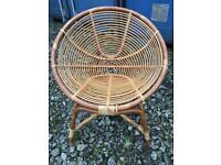 Small vintage wicker bamboo cane chair Mid Century style