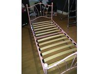 Pink Metal Heart Bed Frame
