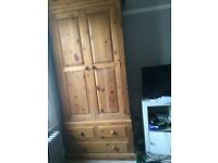 Solid pine wood wardrobe with chest of drawers at bottom