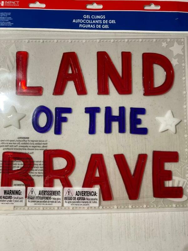 Patriotic 4TH OF JULY GEL WINDOW CLINGS LAND OF THE BRAVE New