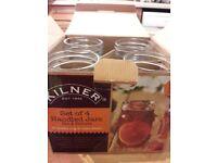 Set of 4 Kilner handled jars/glass mugs. Never used!