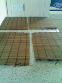 Reduced- 4 Bamboo Place Mats. As new 30cm x 40cm