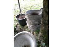 CHEAP OLD CONCRETE POTS/PLANTERS