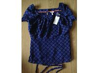 Bravissimo/Pepperberry navy blue blouse Super Curvy shirt NWT S16