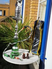Green and Silver Shisha / Narguile with all accessories, excellent condition