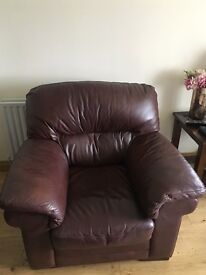 Sofa and Two Chairs PLUS Footstool! Brown Leather - Bargain at £150