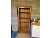 Solid Pine Bookcase, Adjustable Shelves