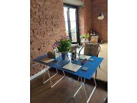 Stunning Blue Glass Dining Table / artist / office desk